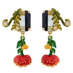 Les Nereides Red Chimerical Flower Stud Earrings